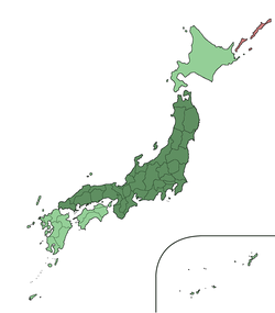 Kaart van Honshu in Japan